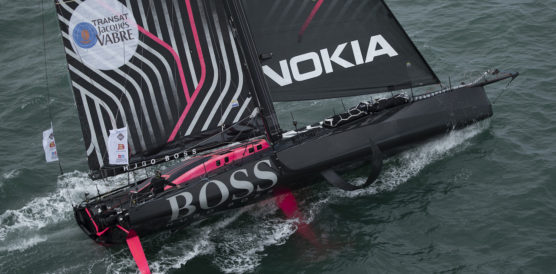 26th October 2019, The Hugo Boss race yacht skippered by British yachtsman Alex Thomson with co skipper Neal McDonald shown here crossing the startling this afternoon.Photo: Lloyd Images