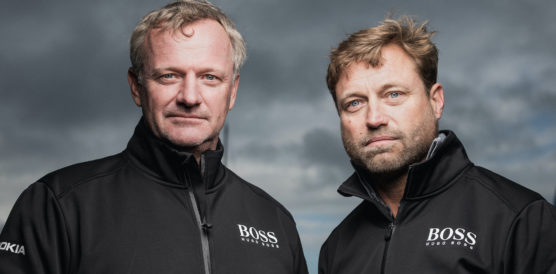 LE HAVRE, FRANCE - OCTOBER 24: Imoca Hugo Boss skippers Alex Thomson and Neal McDonald are posing during pre-start of the Transat Jacques Vabre 2019, duo sailing race from Le Havre, France, to Salvador de Bahia, Brazil, on October 24, 2019 in Le Havre, France. (Photo by Jean-Louis Carli/Alea)